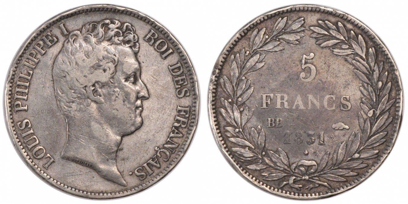 5 Francs 1831 BB Frankreich Louis-Philippe VF(30-35)