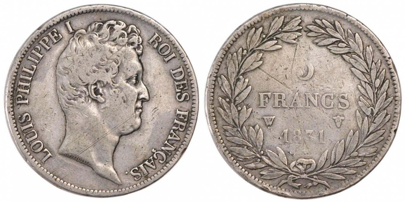 5 Francs 1831 W Frankreich Louis-Philippe VF(30-35)