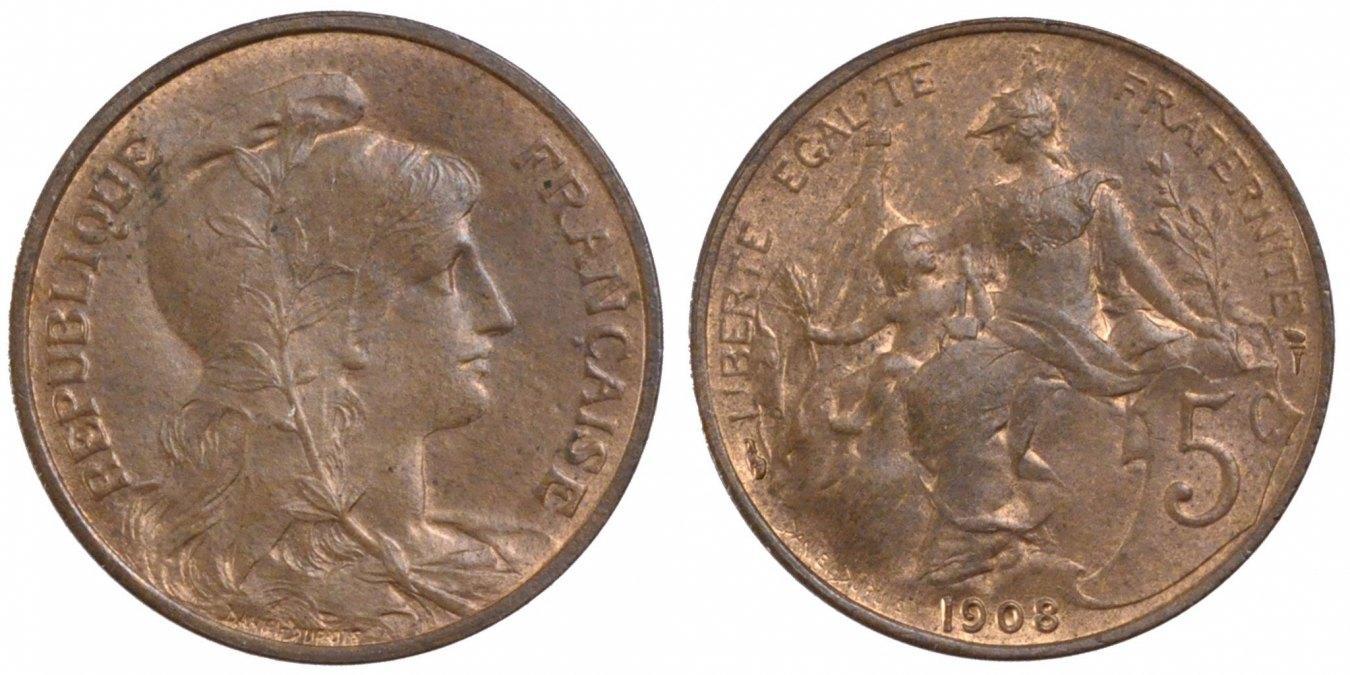 5 Centimes 1908 Paris Frankreich Dupuis AU(55-58)