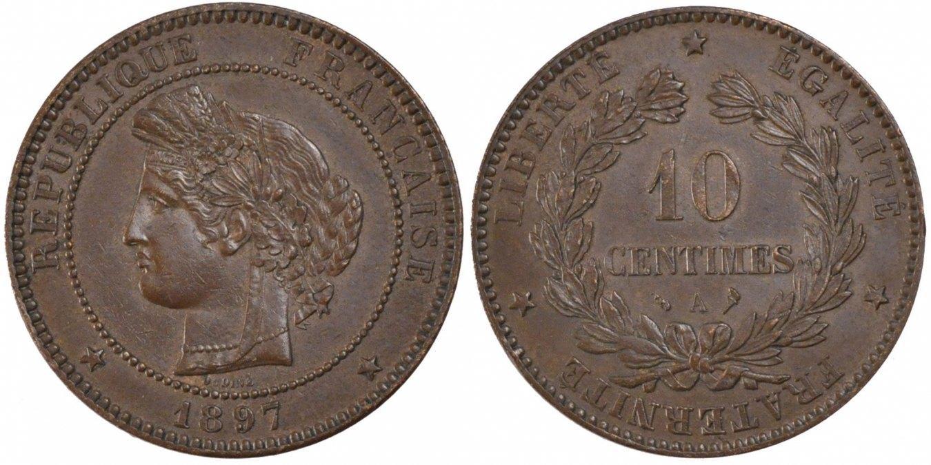 10 Centimes 1897 A Frankreich Cérès MS(60-62)