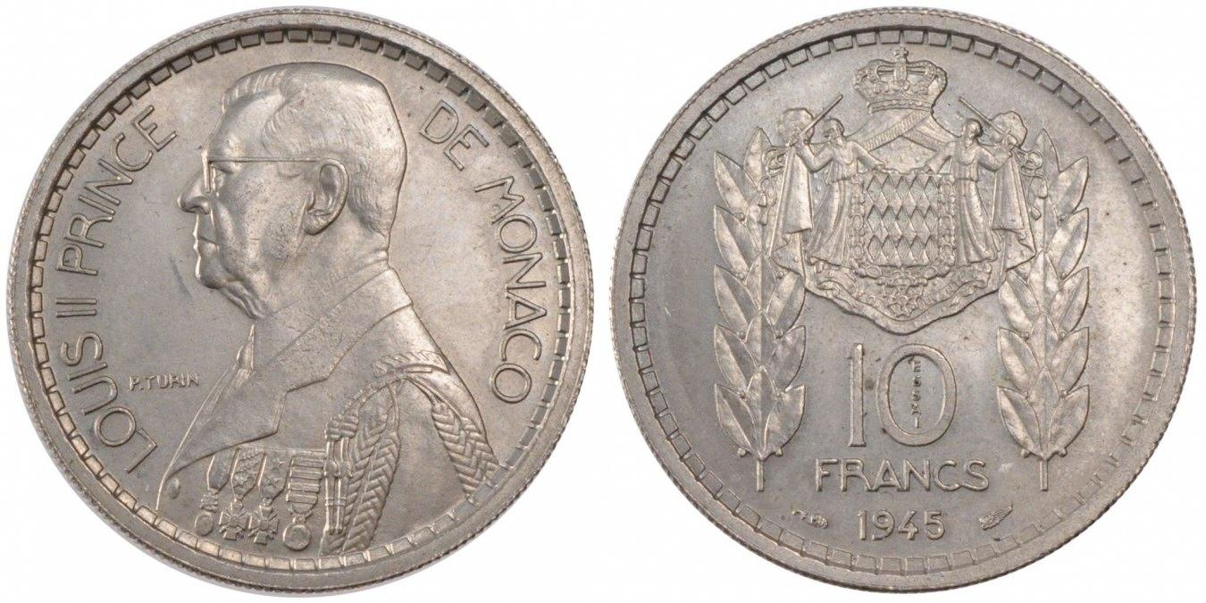 10 Francs 1945 Monaco MS(60-62)