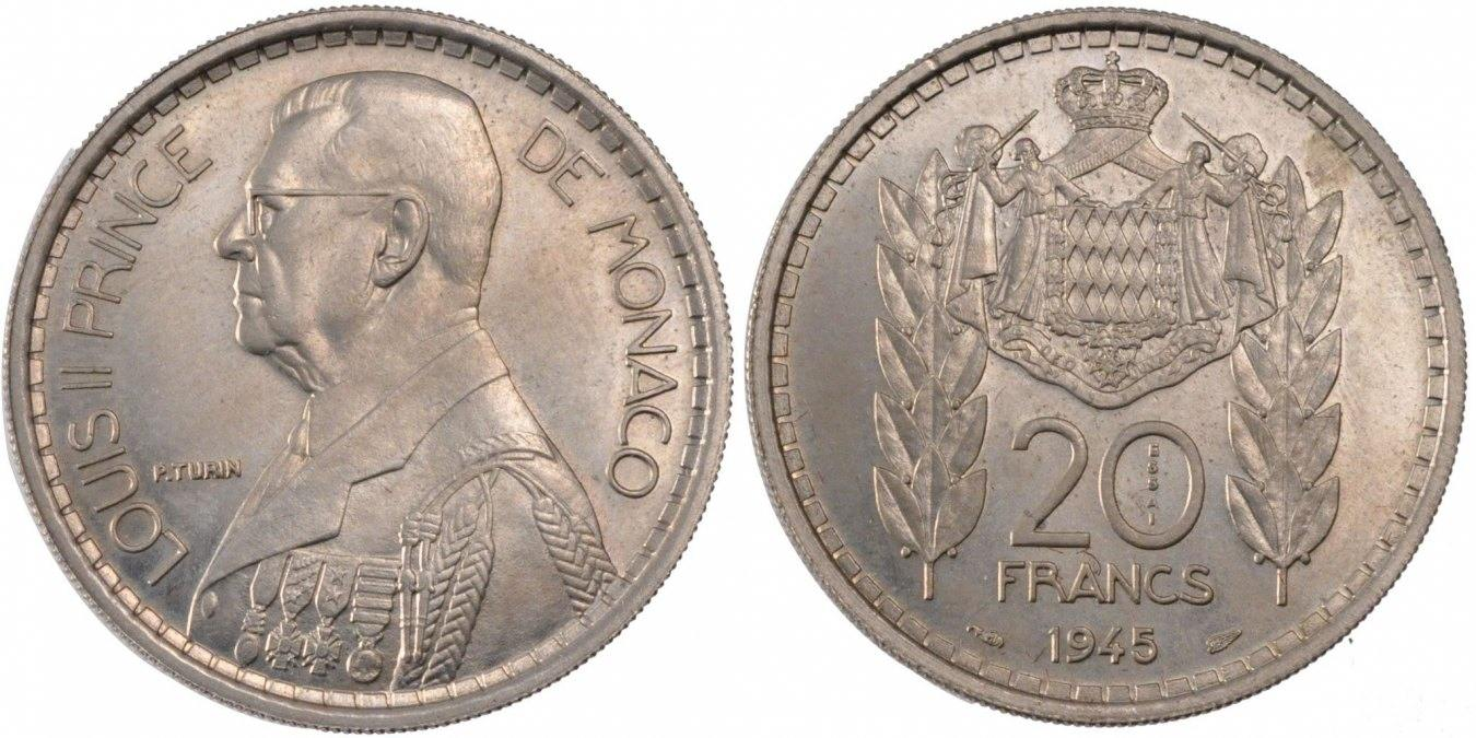 20 Francs 1945 Monaco MS(60-62)