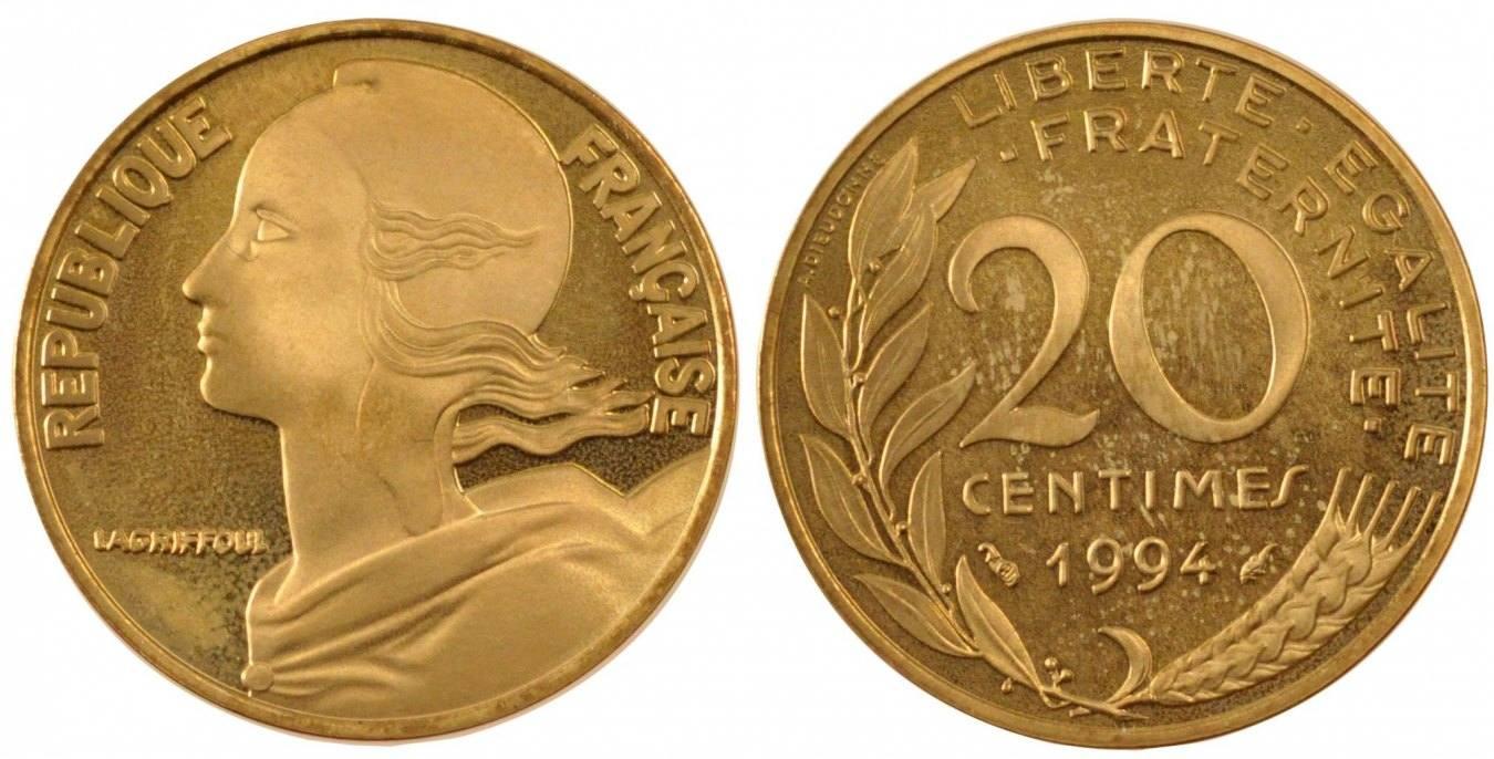 20 Centimes 1994 Paris Frankreich Marianne MS(65-70)