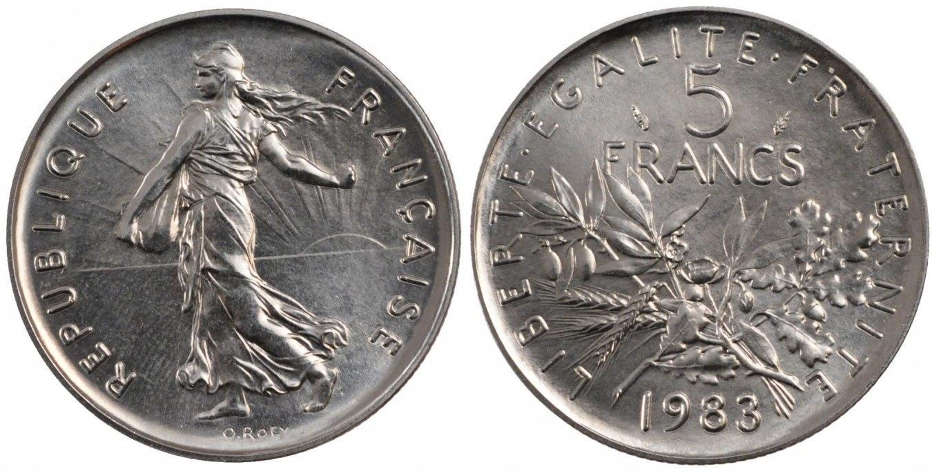 5 Francs 1983 Paris Frankreich Semeuse MS(65-70)