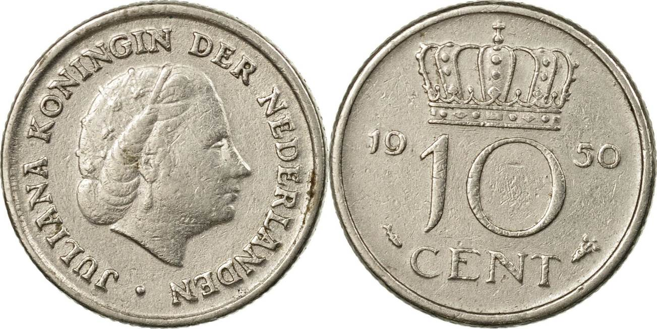 10 Cents 1950 Niederlande Münze Juliana Ss Nickel Km182 Ss Ma