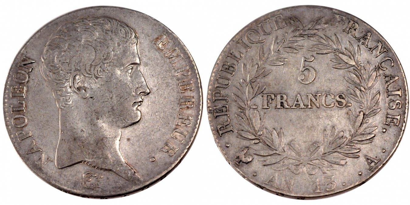5 Francs 1804 A Frankreich Napoléon I EF(40-45)