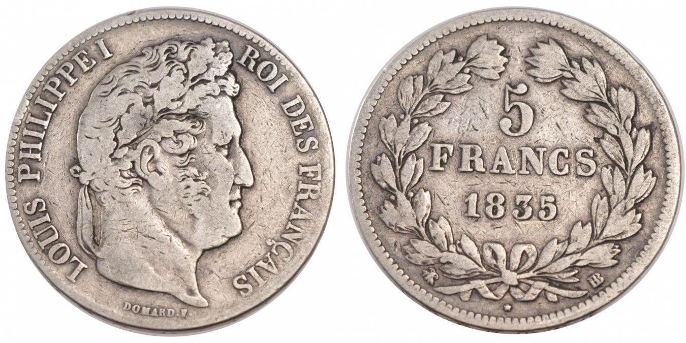 5 Francs 1835 BB Frankreich Louis-Philippe VF(30-35)