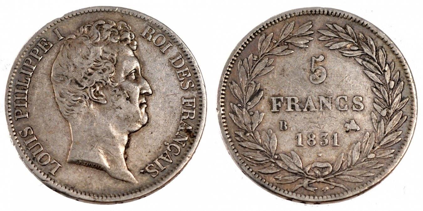 5 Francs 1831 B Frankreich Louis-Philippe EF(40-45)