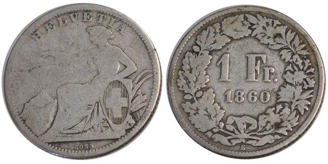 Franc 1860 B Schweiz F(12-15)