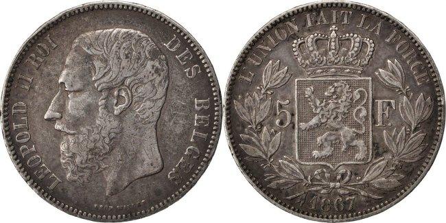 5 Francs, 5 Frank 1867 Belgien BELGIUM, KM #24, Silver, 24.90 SS