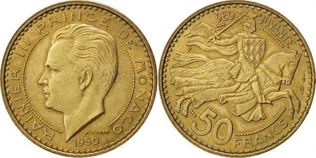 50 Francs, Cinquante 1950 Monaco Rainier III AU(55-58)