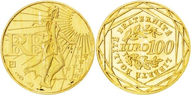 100 Euro 2008 Frankreich FRANCE, Paris, KM #1536, Gold, 15, Gadoury #3, 3.10 STGL