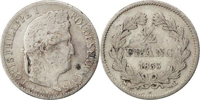 1/2 Franc 1833 B Frankreich Louis-Philippe VF(20-25)