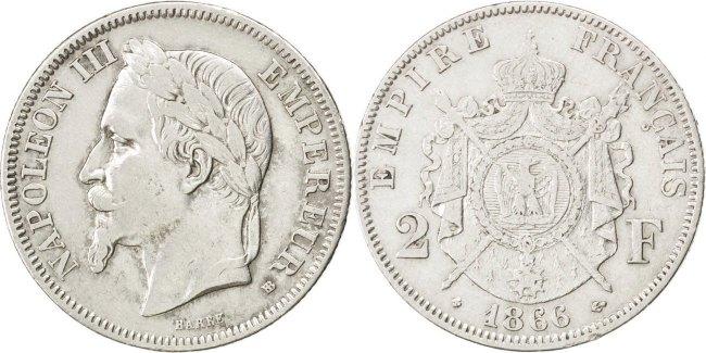 2 Francs 1866 BB Frankreich Napoléon III Napoleon III AU(50-53)