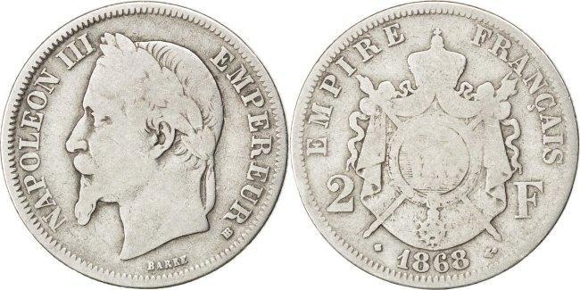 2 Francs 1868 BB Frankreich Napoléon III Napoleon III F(12-15)