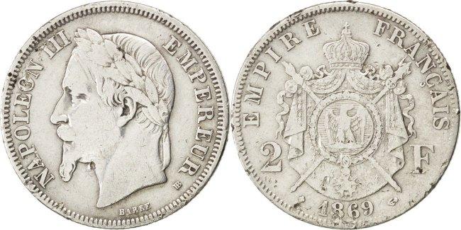 2 Francs 1869 BB Frankreich Napoléon III Napoleon III VF(20-25)