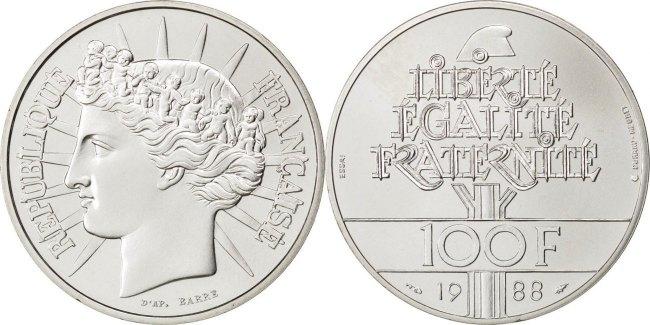100 Francs 1988 Frankreich MS(65-70)