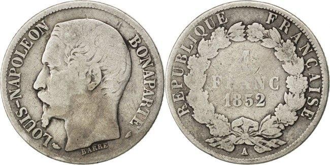 Franc 1852 A Frankreich President Louis-Napoleon Napoléon III Napoleon III F(12-15)