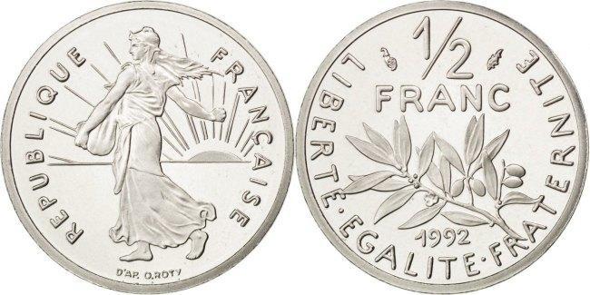 1/2 Franc 1992 Frankreich Semeuse MS(65-70)