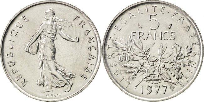 5 Francs 1977 Frankreich Semeuse MS(65-70)