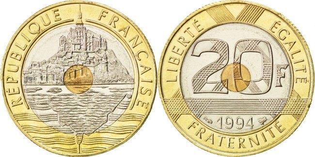 20 Francs 1994 Frankreich Mont Saint Michel MS(65-70)