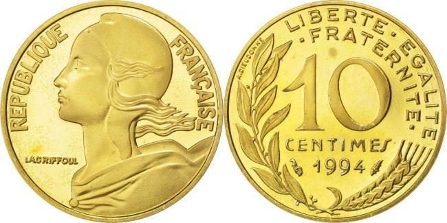 10 Centimes 1994 Frankreich Marianne MS(65-70)
