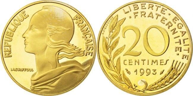 20 Centimes 1993 Frankreich Marianne MS(65-70)