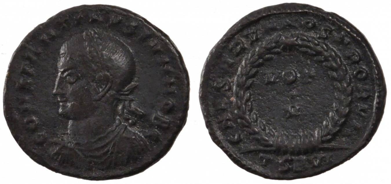 Nummus Thessalonica Constantine II, Thessalonica, Copper, Cohen #40, 2.90 SS