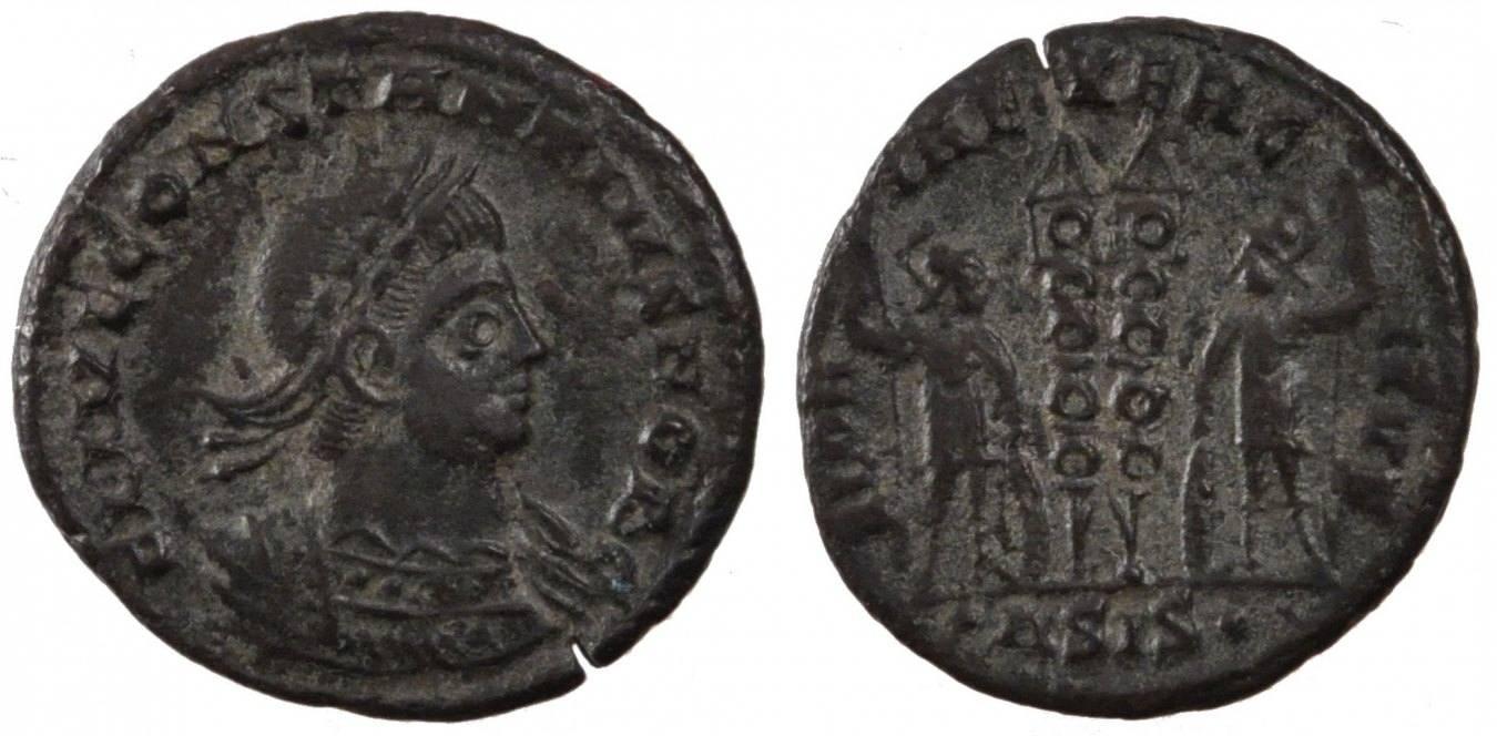 Nummus Siscia Constantius II, Siscia, Copper, Cohen #104, 2.10 SS+
