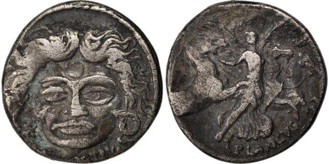 Denarius Roma Plautia EF(40-45)