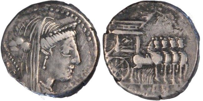 Denarius Roma Rubria EF(40-45)
