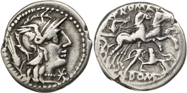 Denarius  Domitia AU(50-53)