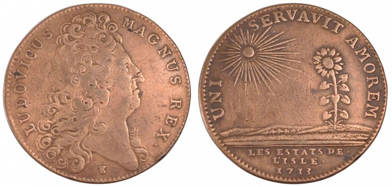 Token 1713 Frankreich France, Royal, Copper, Feuardent #7234, 9.85 SS