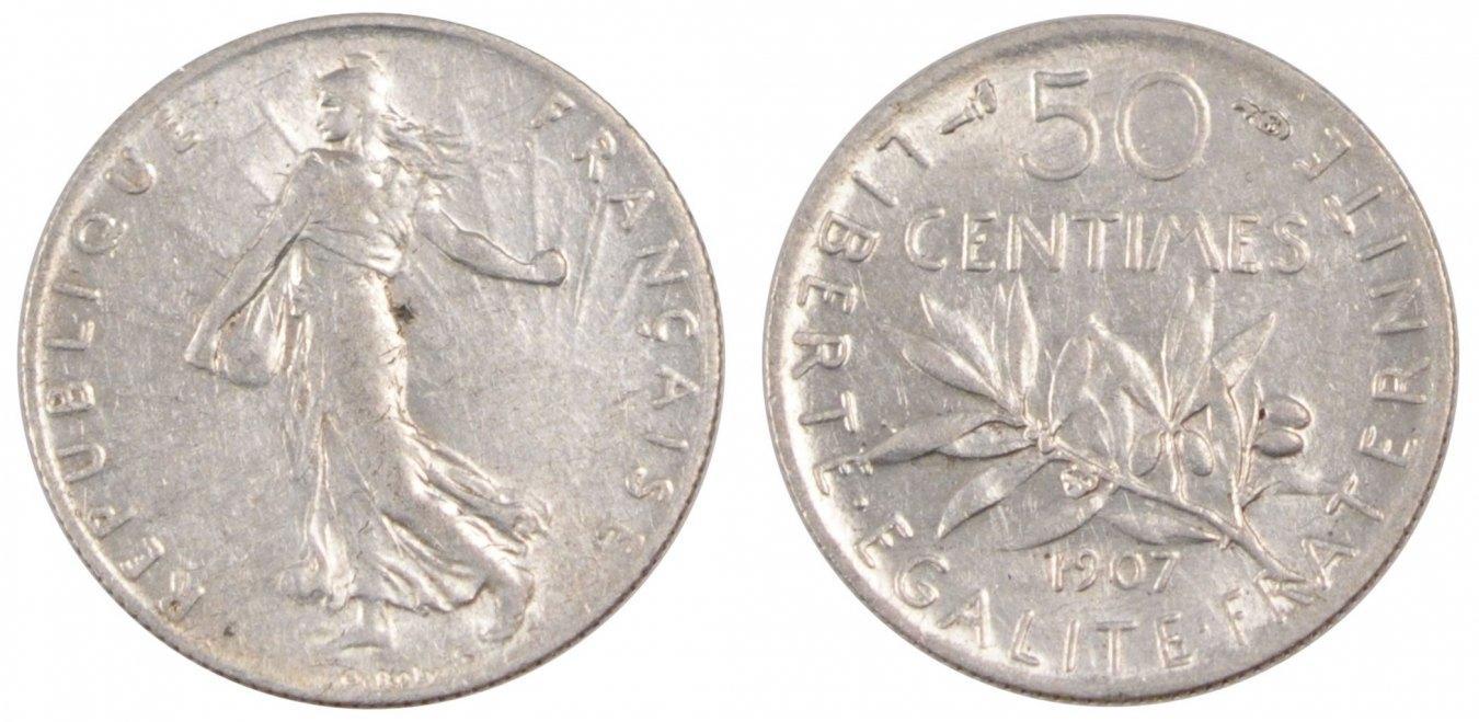 50 Centimes 1907 Frankreich FRANCE, Semeuse, Paris, KM #854, Silver, 18.1,... VZ