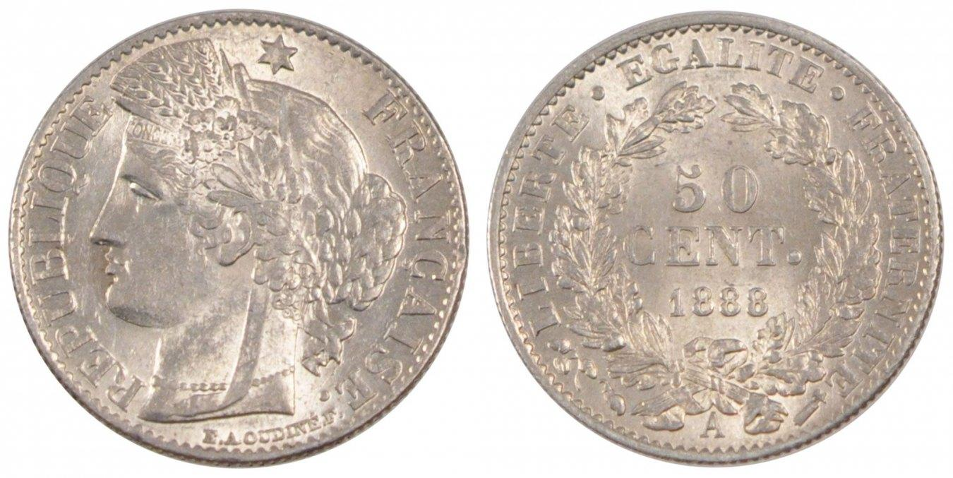 50 Centimes 1888 A Frankreich FRANCE, Cérès, Paris, KM #834.1, Silver, 18, G... VZ+
