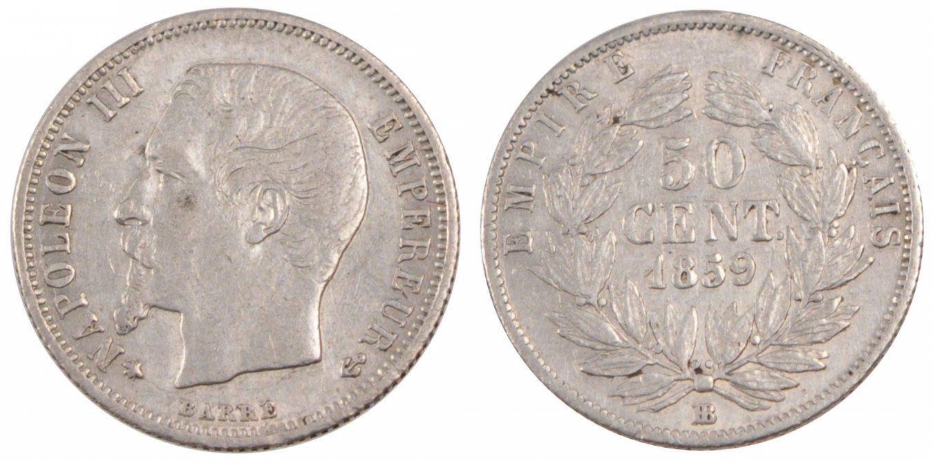 50 Centimes 1859 BB Frankreich FRANCE, Napoléon III, Strasbourg, KM #794.2, S... SS+