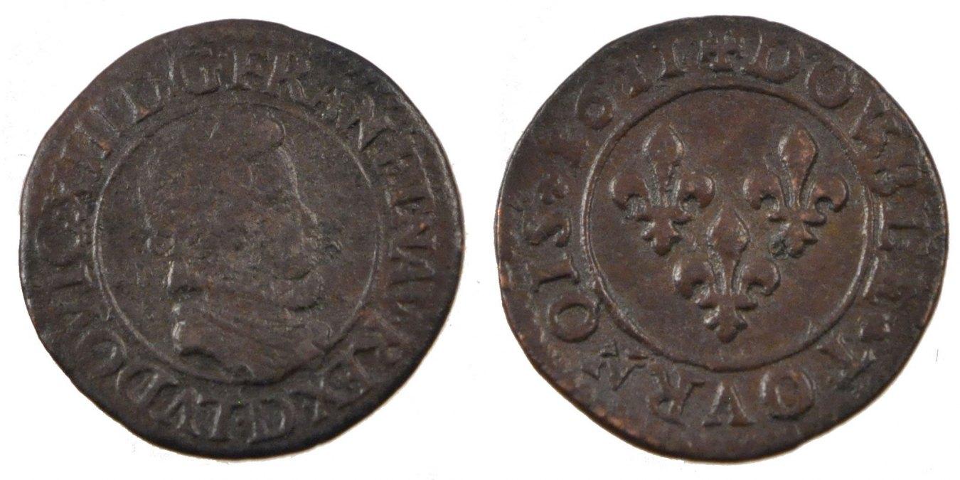 Double Tournois 1611 D Frankreich Double tournois, buste enfantin au col fraisé Louis XIII 1610-1643 Louis XIII le Juste VF(30-35)