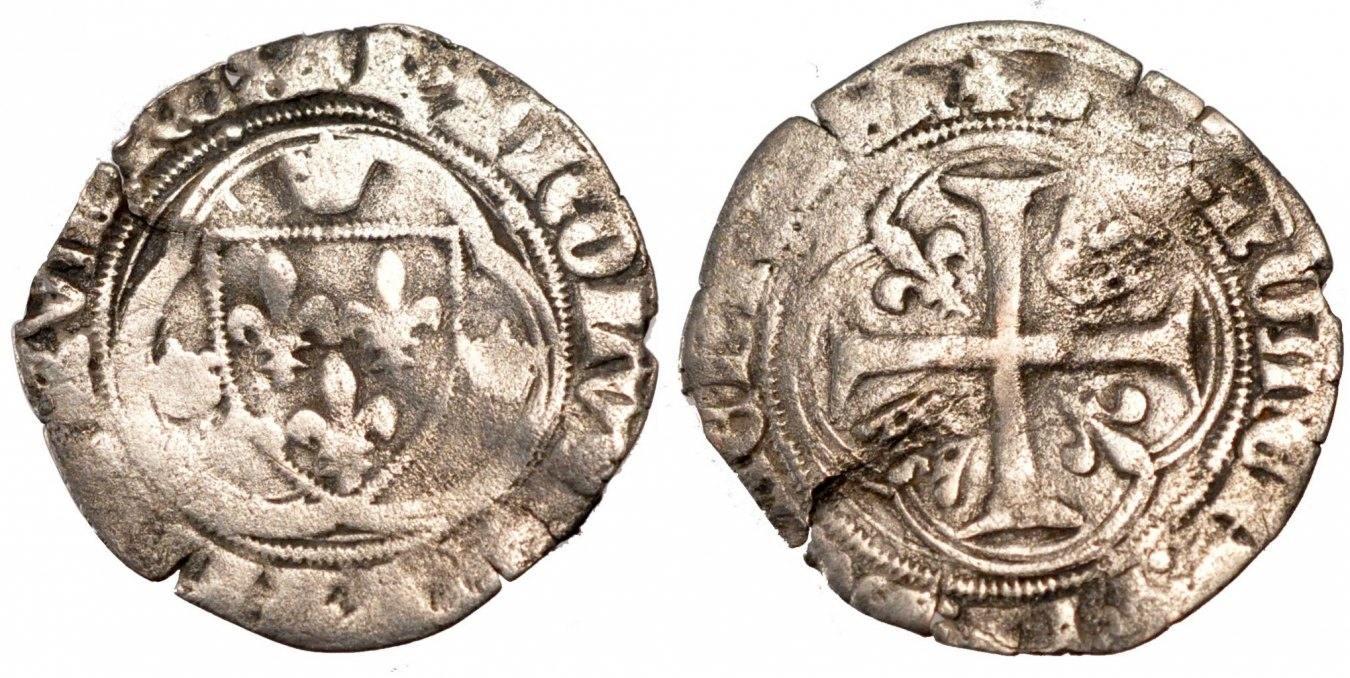 Blanc à la couronne Paris Frankreich 1483-1498 Charles VIII l'Affable F(12-15)