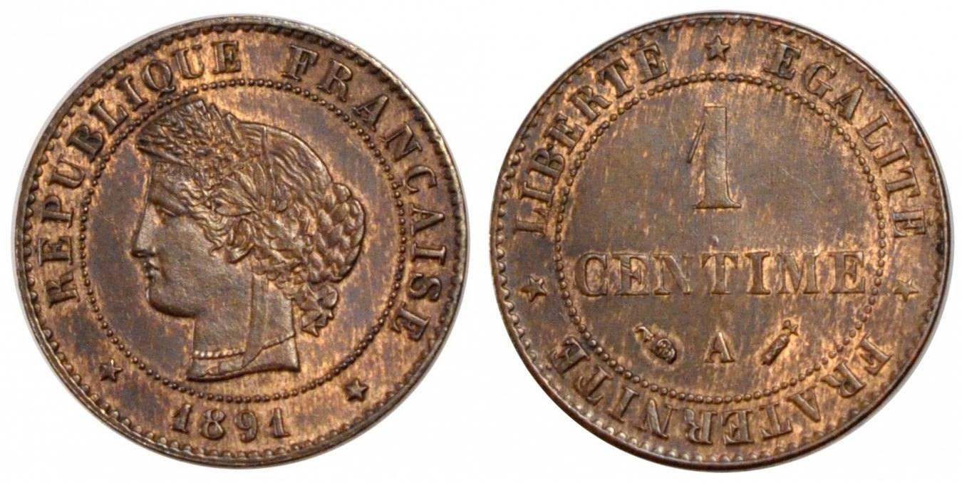 Centime 1891 A Frankreich Cérès MS(60-62)
