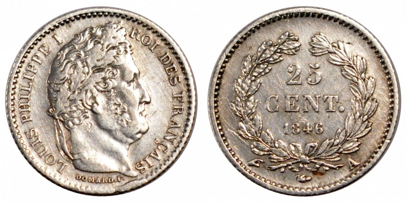 25 Centimes 1846 A Frankreich Louis-Philippe AU(50-53)