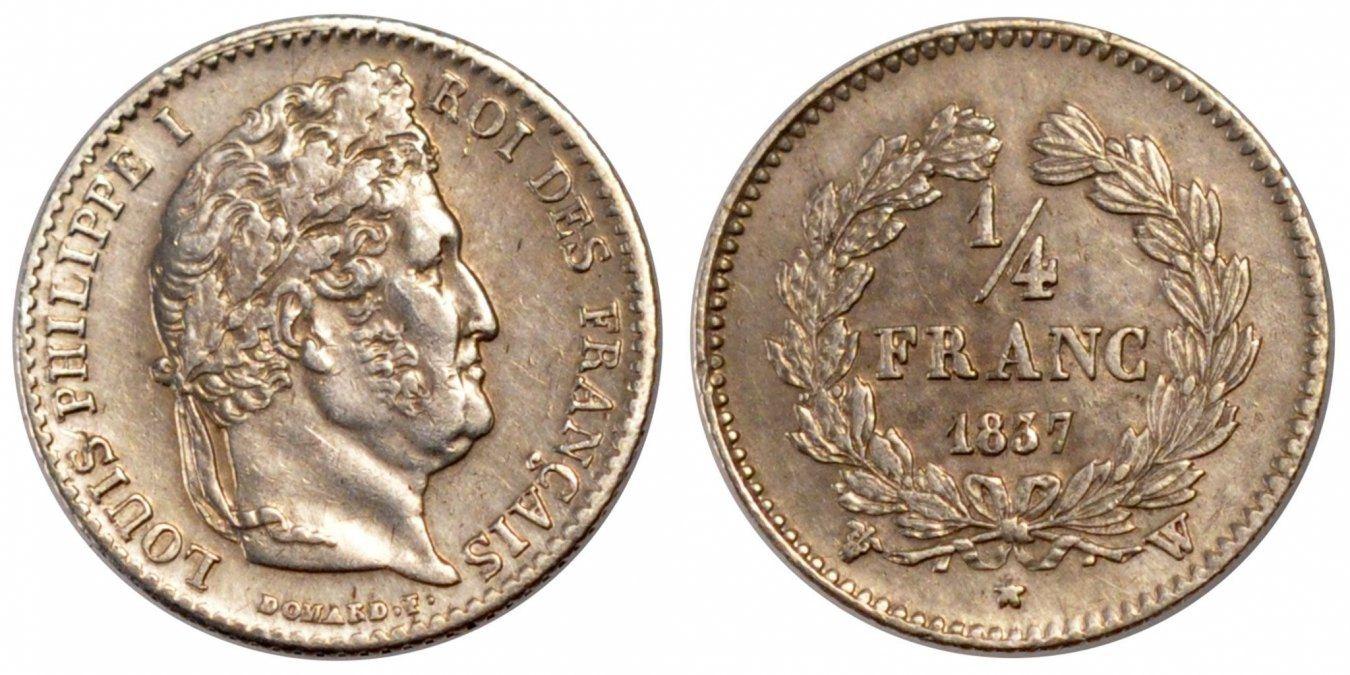 1/4 Franc 1837 W Frankreich Louis-Philippe AU(55-58)