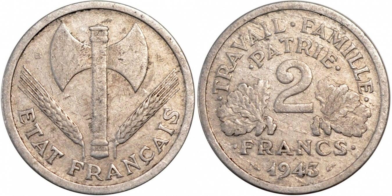 2 Francs 1943 B Frankreich Bazor VF(20-25)