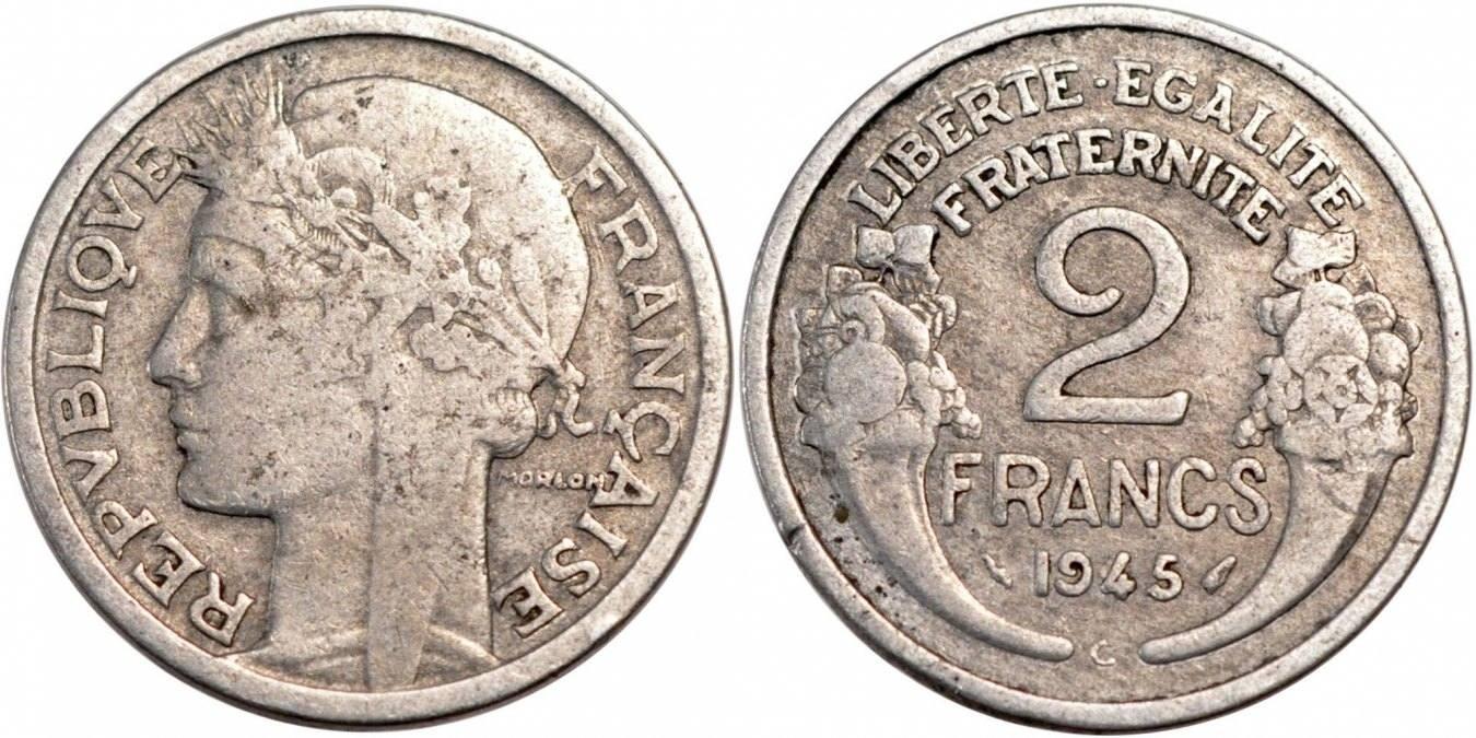 2 Francs 1945 C Frankreich Morlon VF(20-25)