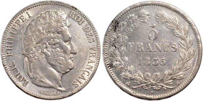 5 Francs 1835 B Frankreich Louis-Philippe AU(50-53)