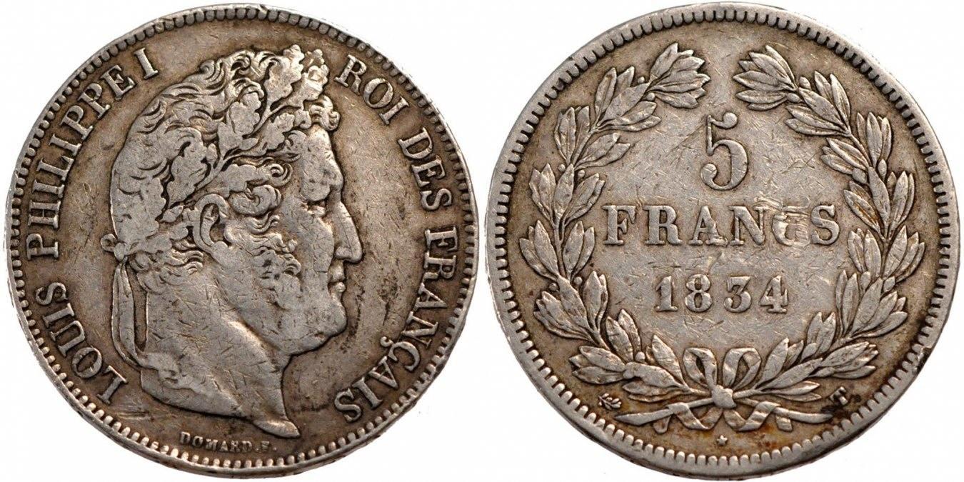 5 Francs 1834 T Frankreich Louis-Philippe VF(30-35)