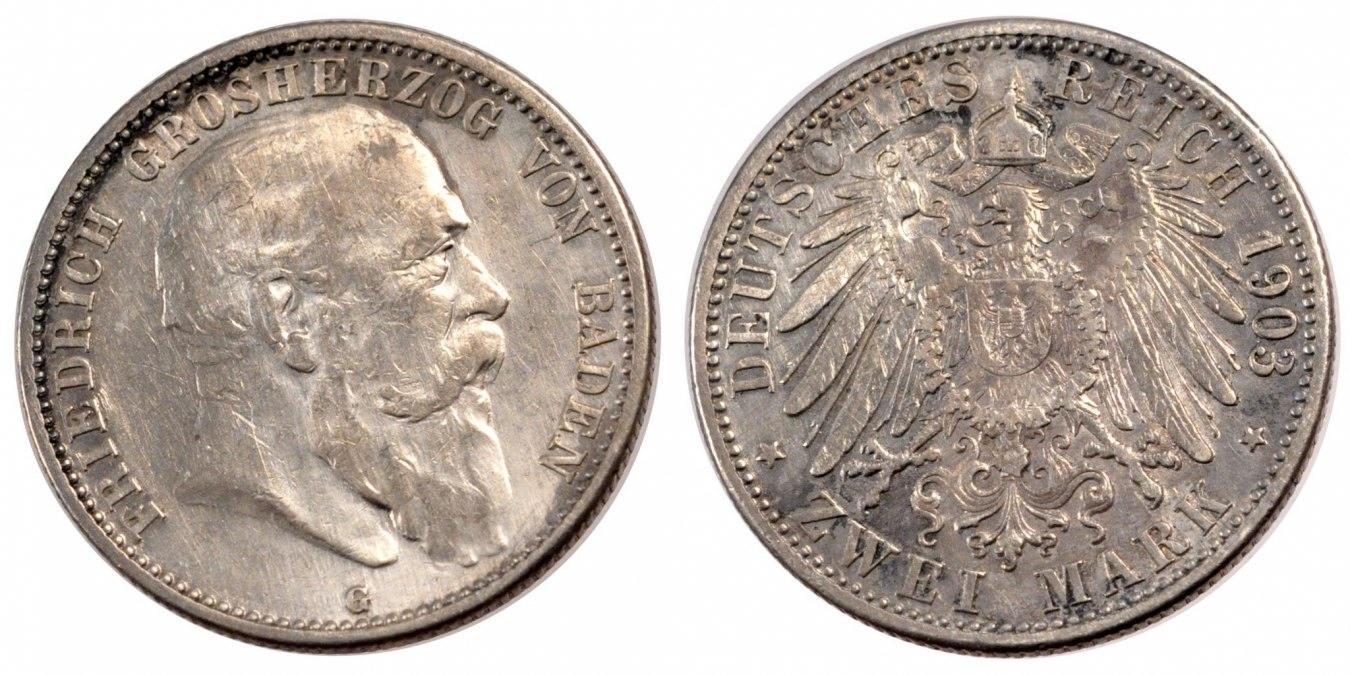 2 Mark 1903 G Deutsch Staaten Friedrich I AU(50-53)