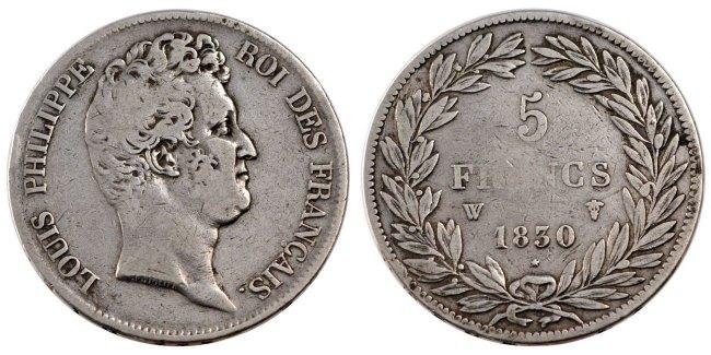 5 Francs 1830 W Frankreich Louis-Philippe VF(30-35)
