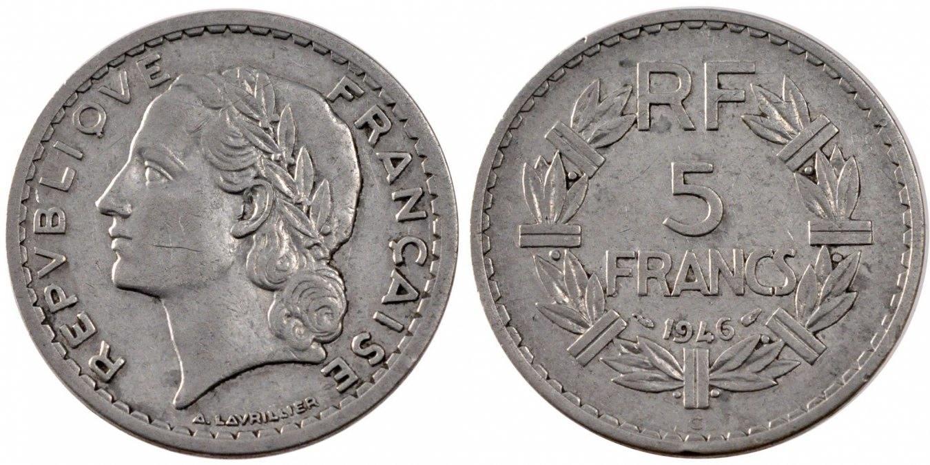 5 Francs 1946 C Frankreich Lavrillier EF(40-45)