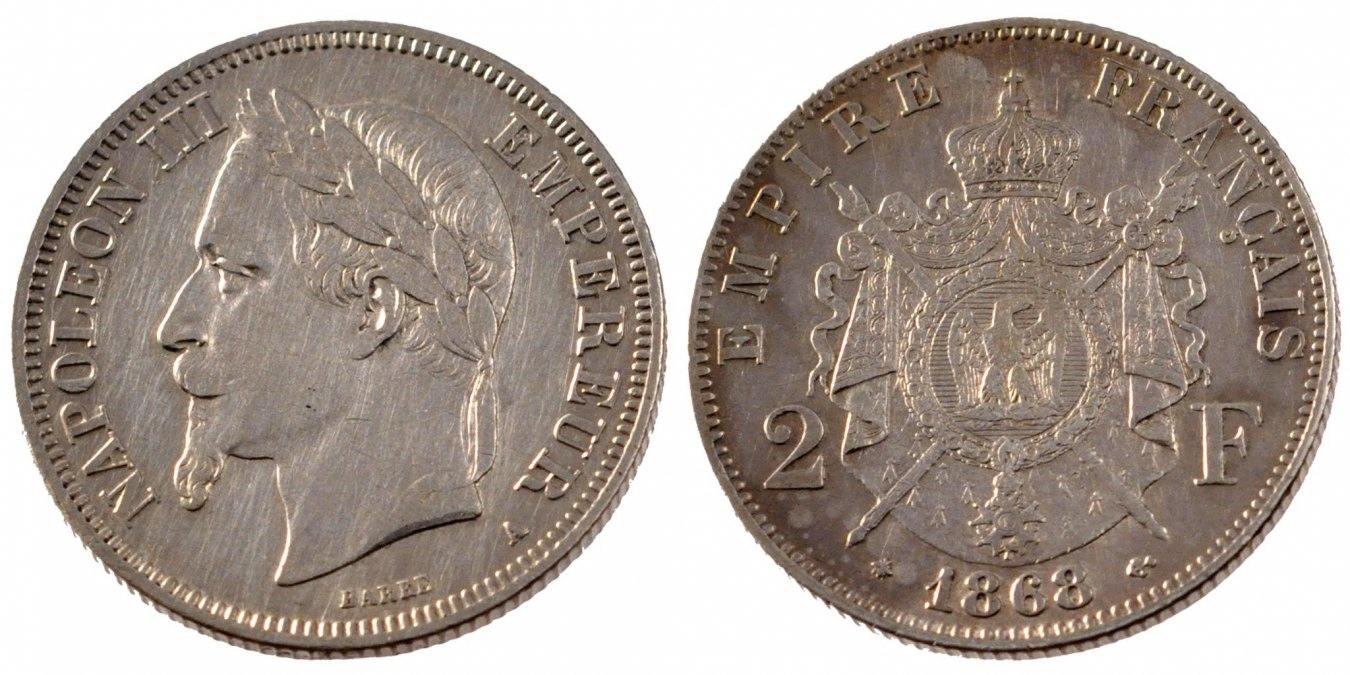 2 Francs 1868 A Frankreich Napoléon III Napoleon III AU(50-53)