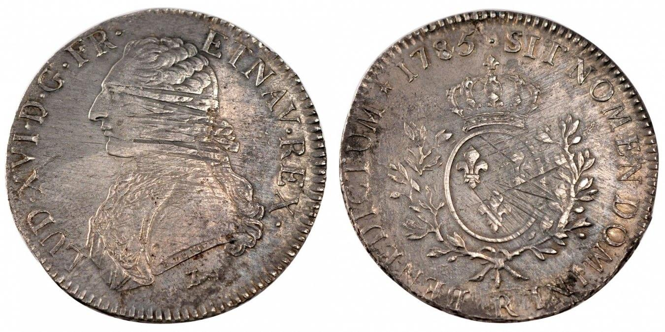Ecu 1785 R Frankreich Écu aux branches d'olivier Louis XVI 1774-1791 Louis XVI VF(30-35)